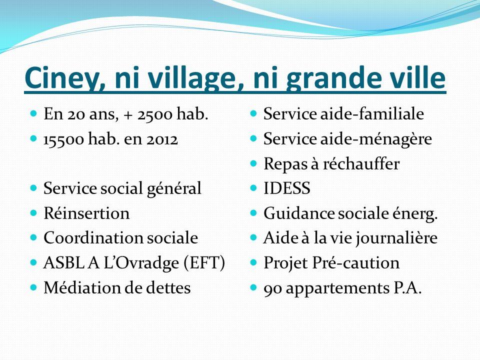 Ciney, ni village, ni grande ville En 20 ans, + 2500 hab. 15500 hab. en 2012 Service social général Réinsertion Coordination sociale ASBL A LOvradge (