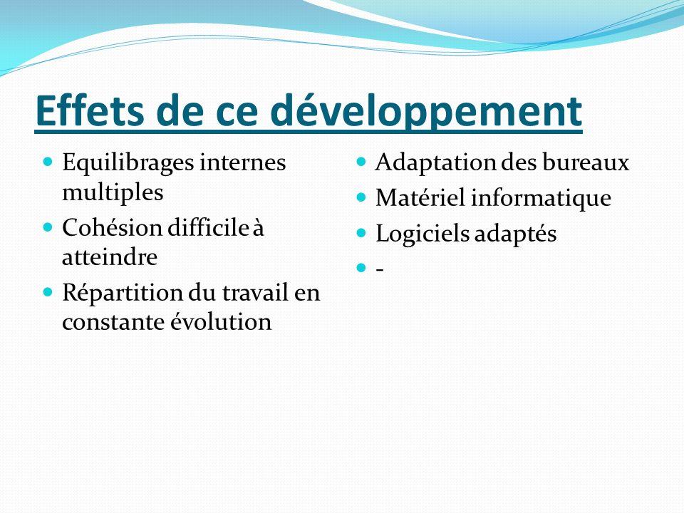 Effets de ce développement Equilibrages internes multiples Cohésion difficile à atteindre Répartition du travail en constante évolution Adaptation des