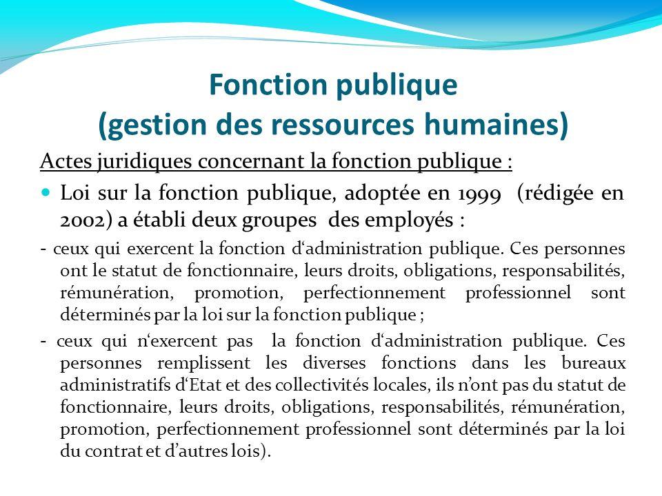 Fonction publique (gestion des ressources humaines) Actes juridiques concernant la fonction publique : Loi sur la fonction publique, adoptée en 1999 (