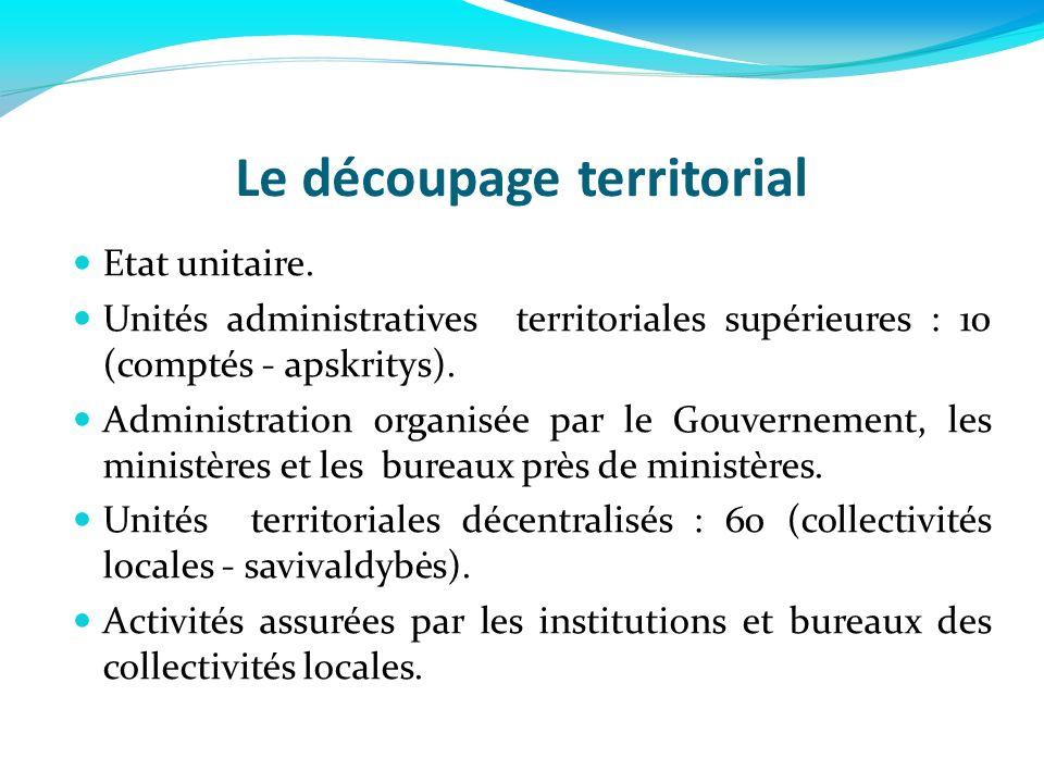 Le découpage territorial Etat unitaire. Unités administratives territoriales supérieures : 10 (comptés - apskritys). Administration organisée par le G