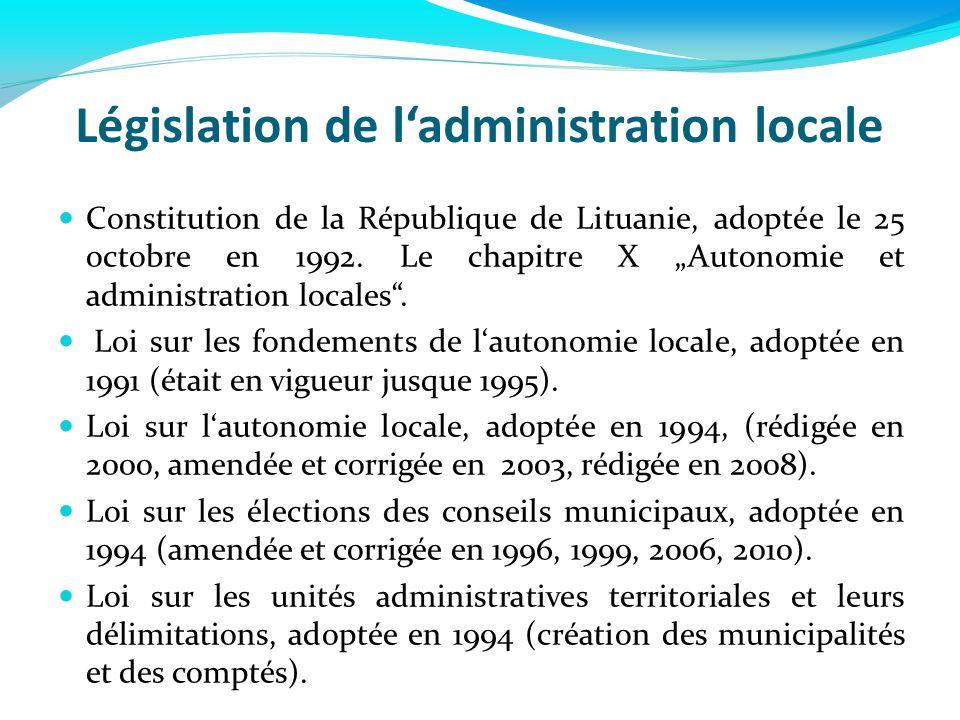 Législation de ladministration locale Constitution de la République de Lituanie, adoptée le 25 octobre en 1992. Le chapitre X Autonomie et administrat