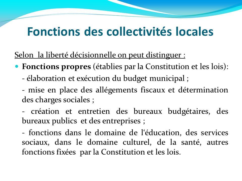 Fonctions des collectivités locales Selon la liberté décisionnelle on peut distinguer : Fonctions propres (établies par la Constitution et les lois):