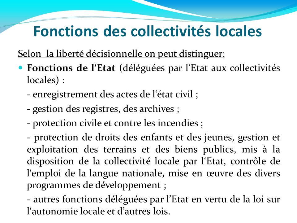 Fonctions des collectivités locales Selon la liberté décisionnelle on peut distinguer: Fonctions de lEtat (déléguées par lEtat aux collectivités local