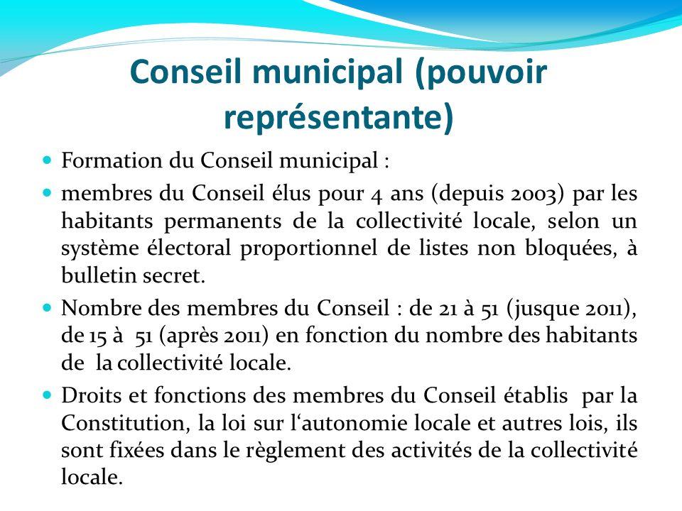 Conseil municipal (pouvoir représentante) Formation du Conseil municipal : membres du Conseil élus pour 4 ans (depuis 2003) par les habitants permanen