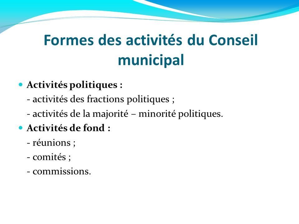 Formes des activités du Conseil municipal Activités politiques : - activités des fractions politiques ; - activités de la majorité – minorité politiqu