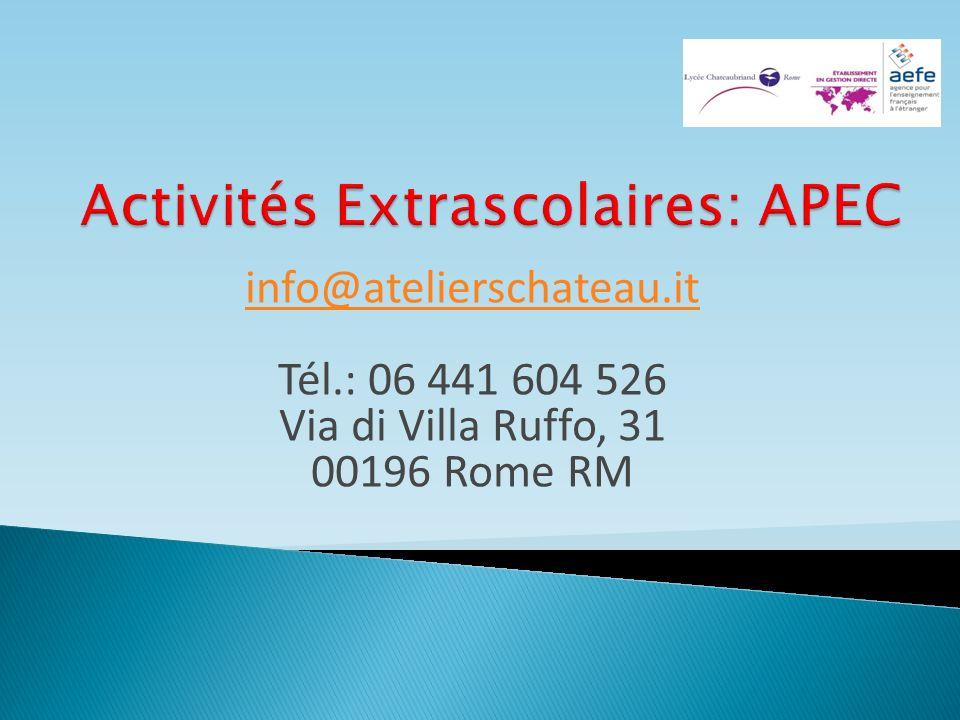 info@atelierschateau.it info@atelierschateau.it Tél.: 06 441 604 526 Via di Villa Ruffo, 31 00196 Rome RM