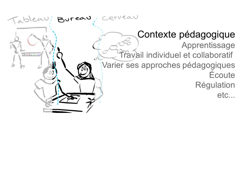 Contexte pédagogique Apprentissage Travail individuel et collaboratif Varier ses approches pédagogiques Écoute Régulation etc...