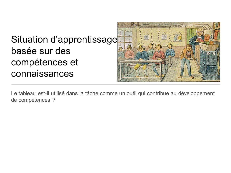 Situation dapprentissage basée sur des compétences et connaissances Le tableau est-il utilisé dans la tâche comme un outil qui contribue au développement de compétences ?