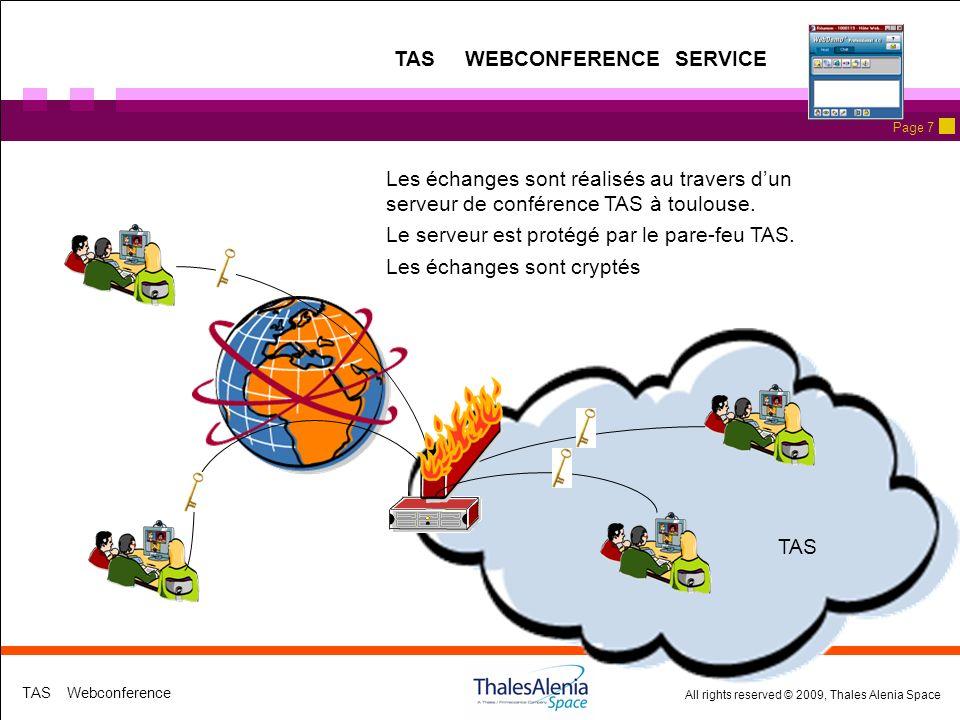 All rights reserved © 2009, Thales Alenia Space TAS Webconference Page 7 Les échanges sont réalisés au travers dun serveur de conférence TAS à toulouse.