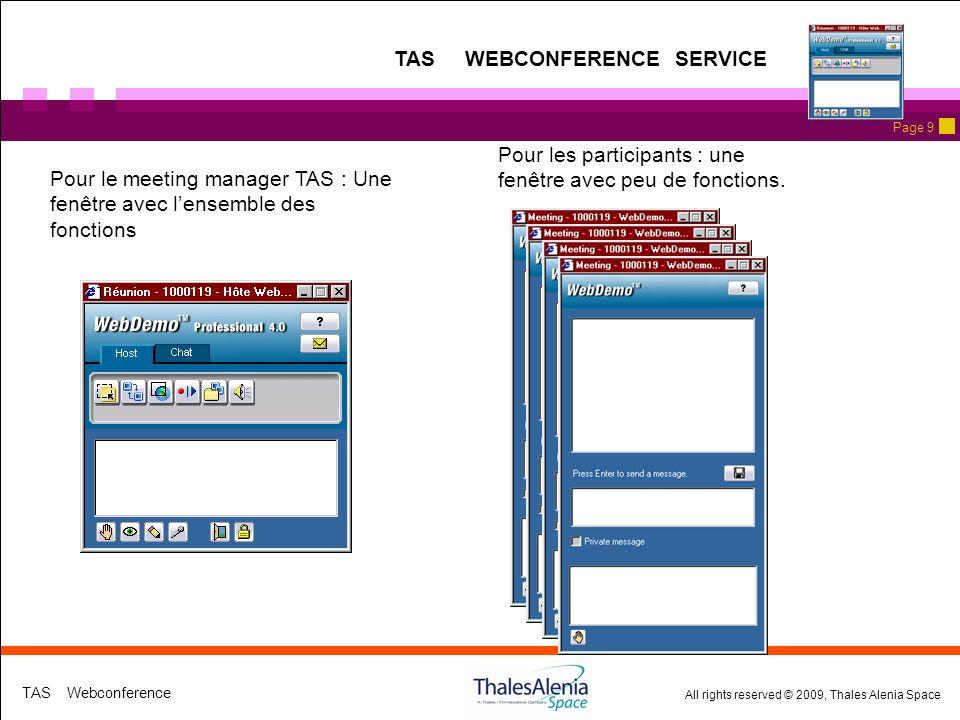 All rights reserved © 2009, Thales Alenia Space TAS Webconference Page 9 Pour le meeting manager TAS : Une fenêtre avec lensemble des fonctions Pour les participants : une fenêtre avec peu de fonctions.