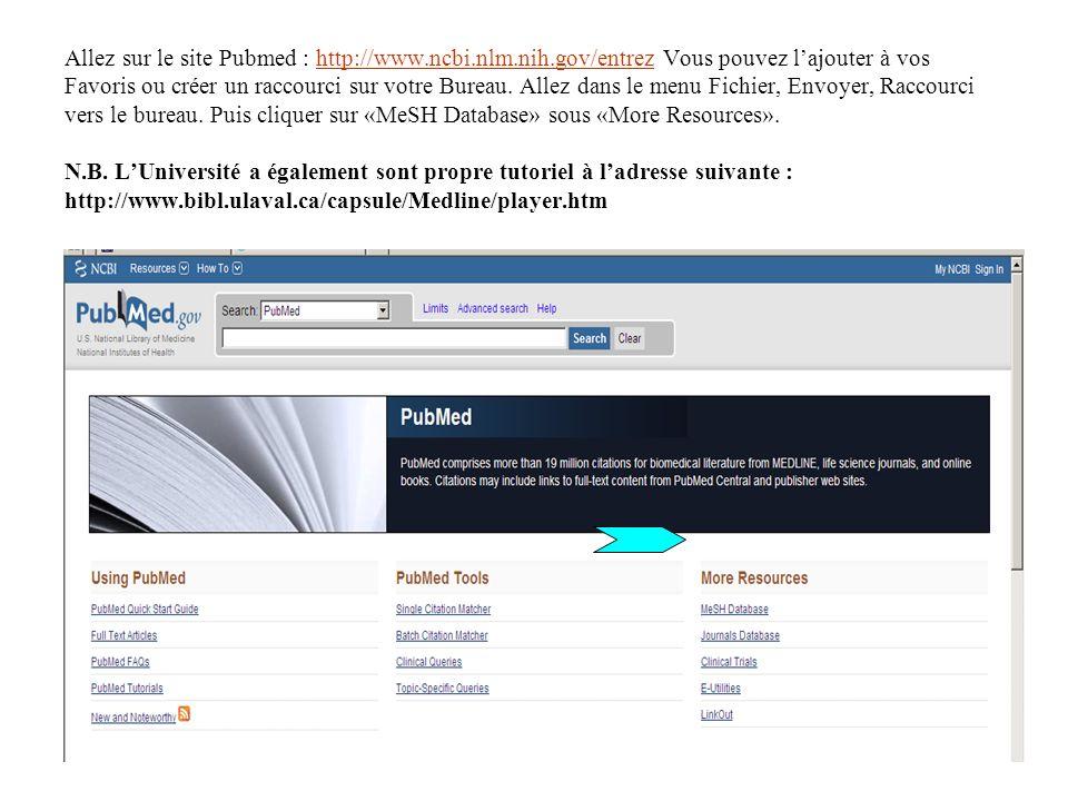 Allez sur le site Pubmed : http://www.ncbi.nlm.nih.gov/entrez Vous pouvez lajouter à vos Favoris ou créer un raccourci sur votre Bureau.