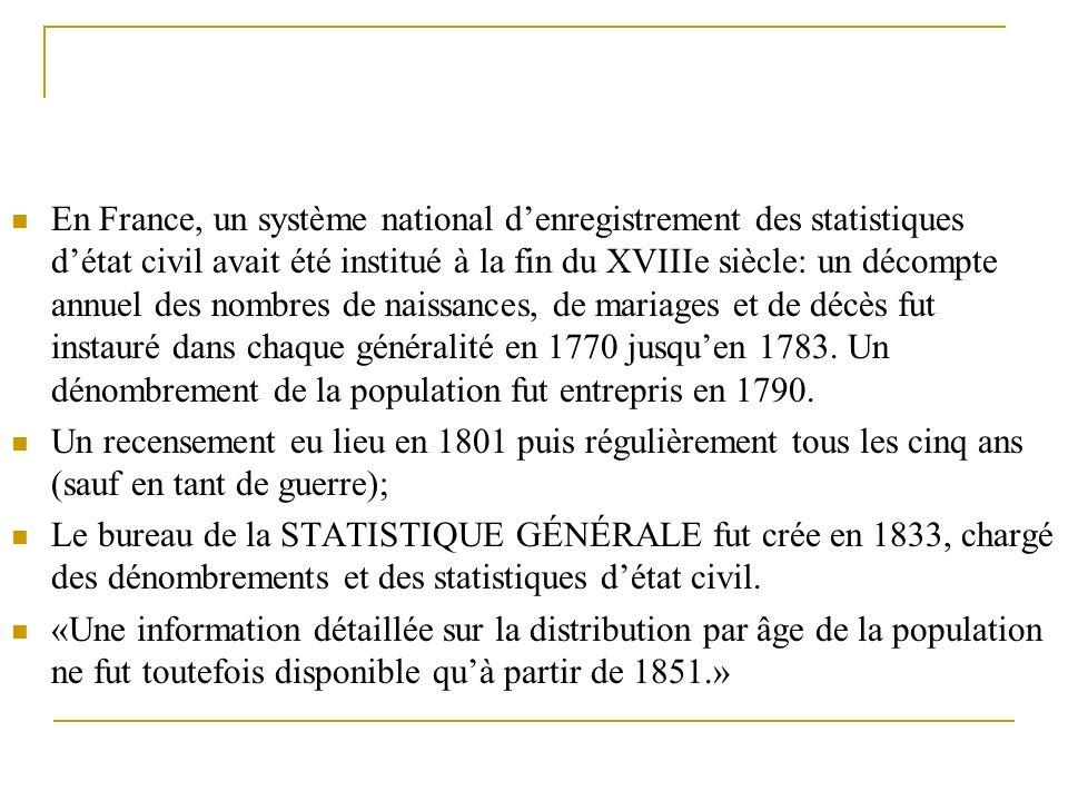 En France, un système national denregistrement des statistiques détat civil avait été institué à la fin du XVIIIe siècle: un décompte annuel des nombr