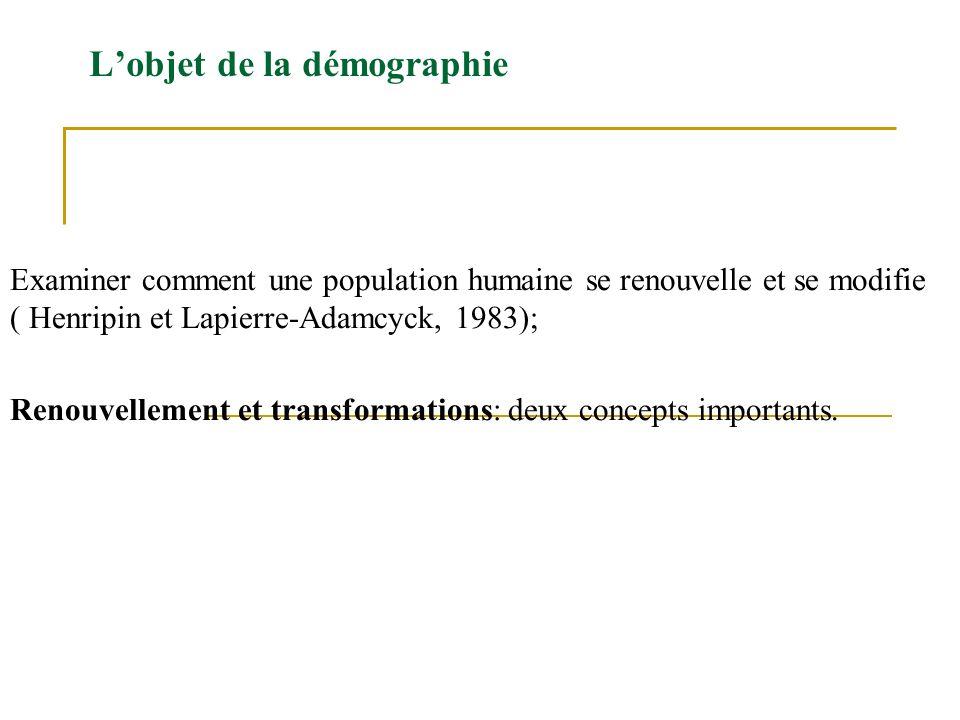 Lobjet de la démographie Examiner comment une population humaine se renouvelle et se modifie ( Henripin et Lapierre-Adamcyck, 1983); Renouvellement et