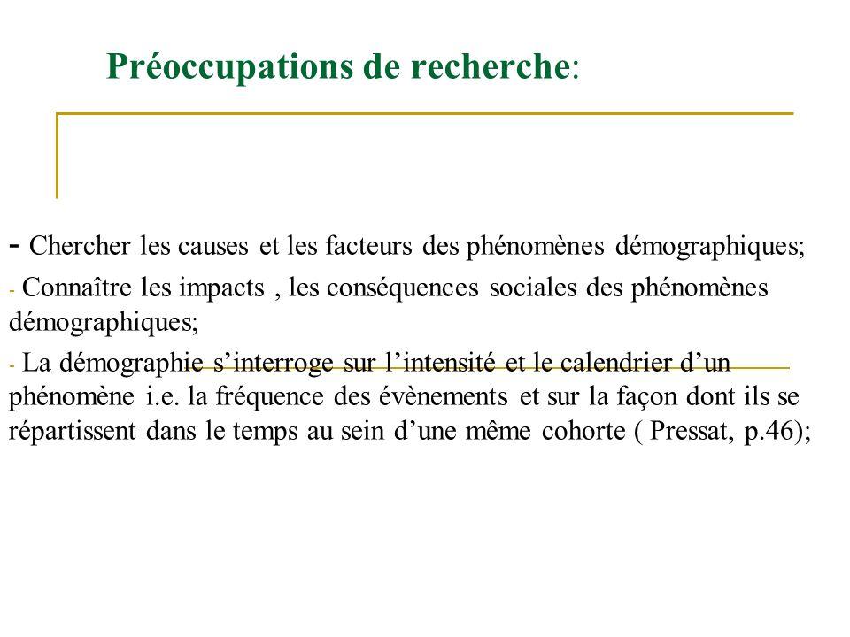 Préoccupations de recherche: - Chercher les causes et les facteurs des phénomènes démographiques; - Connaître les impacts, les conséquences sociales d