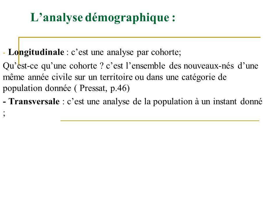 Lanalyse démographique : - Longitudinale : cest une analyse par cohorte; Quest-ce quune cohorte ? cest lensemble des nouveaux-nés dune même année civi