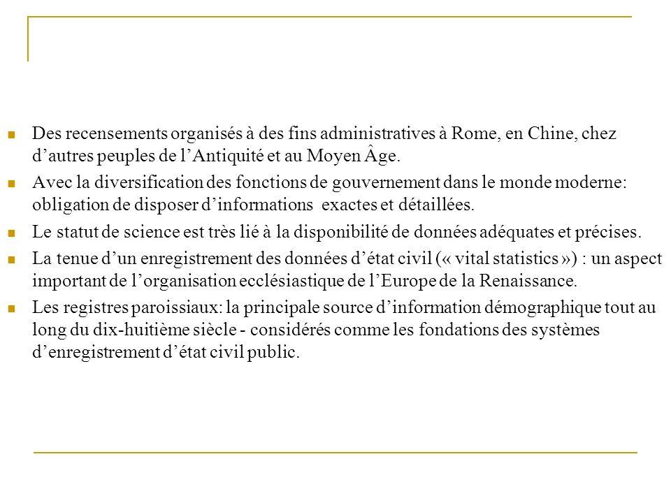 Des recensements organisés à des fins administratives à Rome, en Chine, chez dautres peuples de lAntiquité et au Moyen Âge. Avec la diversification de