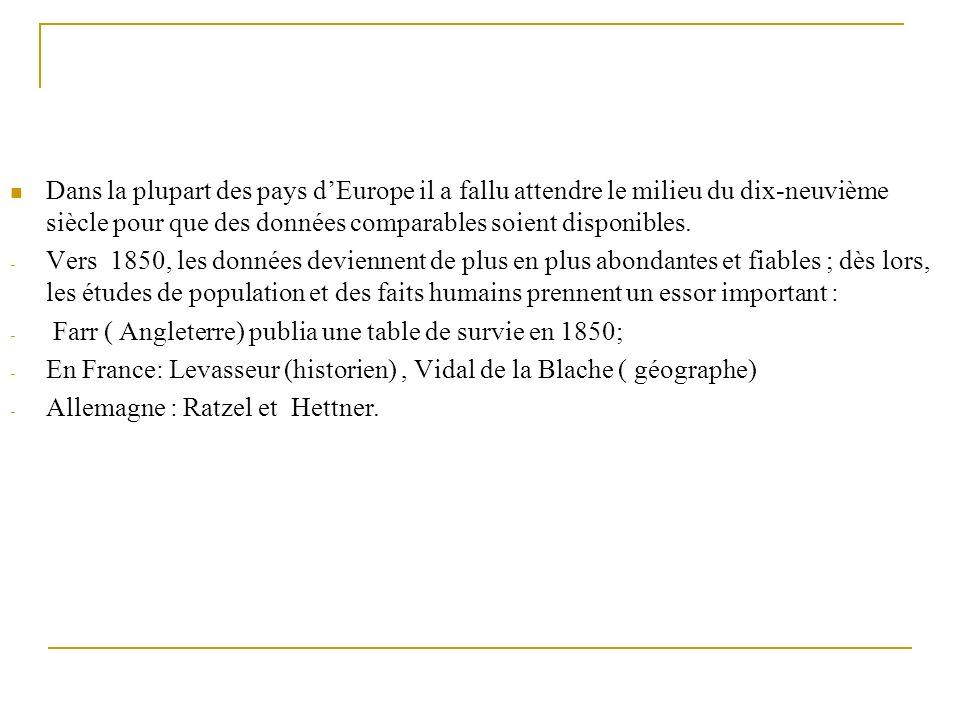Dans la plupart des pays dEurope il a fallu attendre le milieu du dix-neuvième siècle pour que des données comparables soient disponibles. - Vers 1850