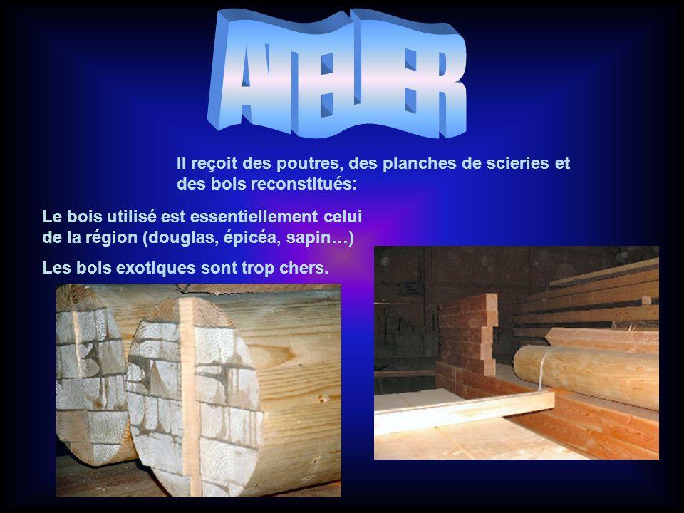 Il reçoit des poutres, des planches de scieries et des bois reconstitués: Le bois utilisé est essentiellement celui de la région (douglas, épicéa, sapin…) Les bois exotiques sont trop chers.