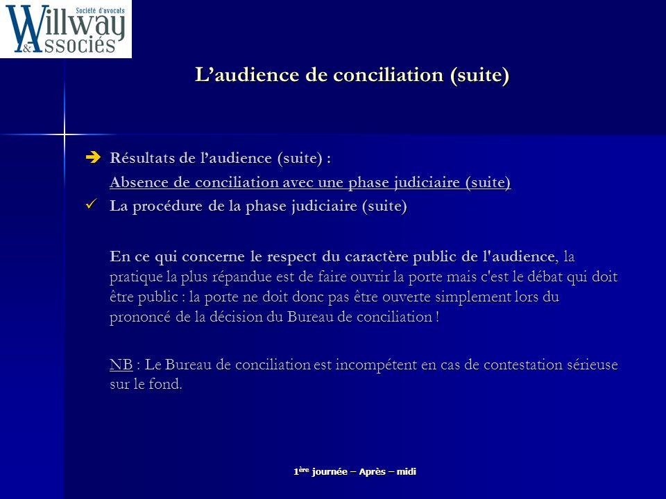 Laudience de conciliation (suite) Résultats de laudience (suite) : Résultats de laudience (suite) : Absence de conciliation avec une phase judiciaire