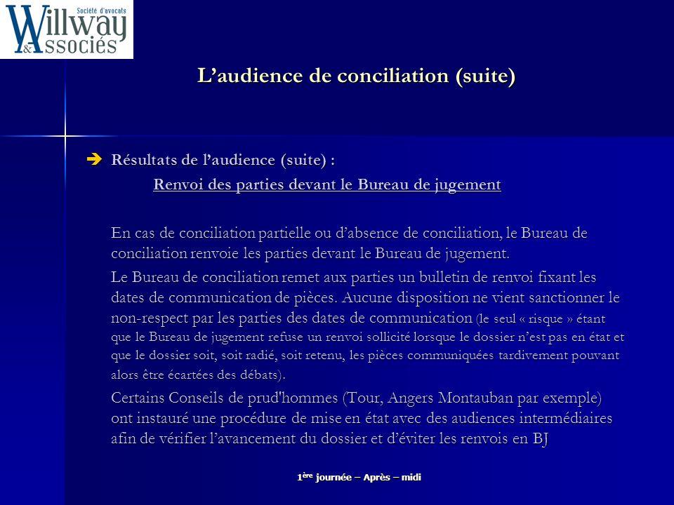 Laudience de conciliation (suite) Résultats de laudience (suite) : Résultats de laudience (suite) : Renvoi des parties devant le Bureau de jugement En