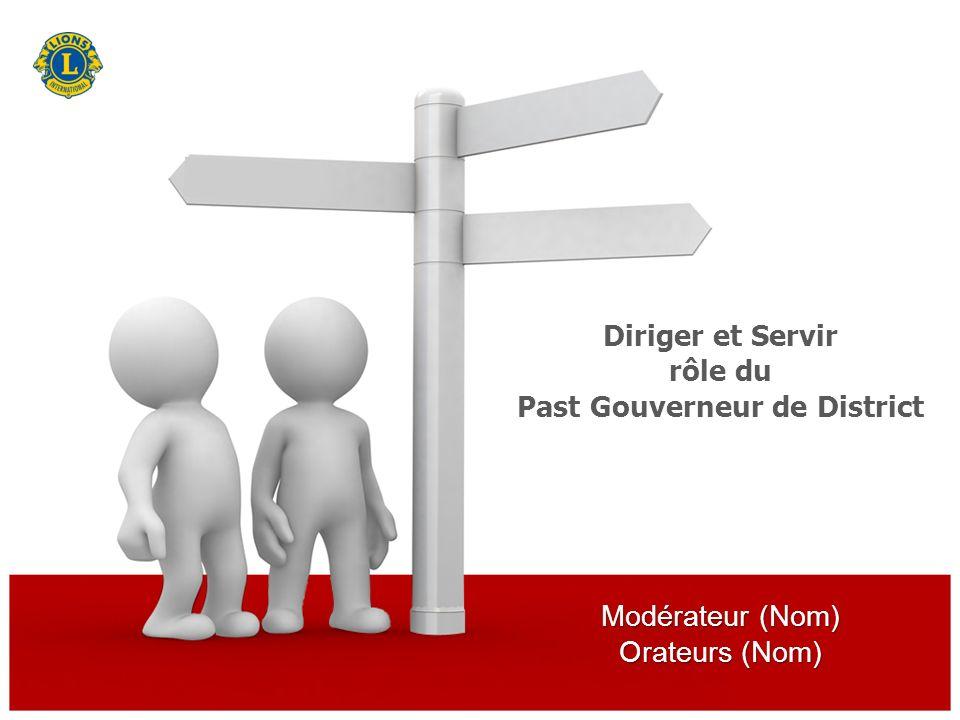 Modérateur (Nom) Orateurs (Nom) Diriger et Servir rôle du Past Gouverneur de District