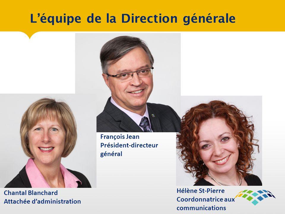 Léquipe de la Direction générale Chantal Blanchard Attachée dadministration Hélène St-Pierre Coordonnatrice aux communications François Jean Président-directeur général