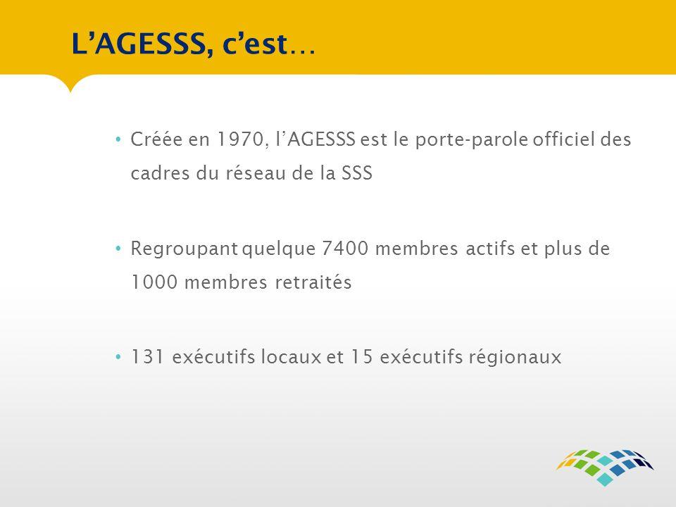 LAGESSS, cest… Créée en 1970, lAGESSS est le porte-parole officiel des cadres du réseau de la SSS Regroupant quelque 7400 membres actifs et plus de 1000 membres retraités 131 exécutifs locaux et 15 exécutifs régionaux