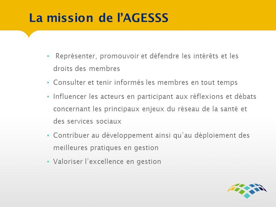 La mission de lAGESSS Représenter, promouvoir et défendre les intérêts et les droits des membres Consulter et tenir informés les membres en tout temps