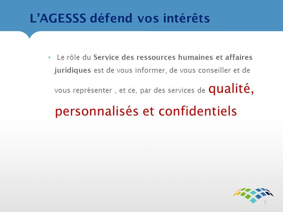 LAGESSS défend vos intérêts 7 Le rôle du Service des ressources humaines et affaires juridiques est de vous informer, de vous conseiller et de vous représenter, et ce, par des services de qualité, personnalisés et confidentiels