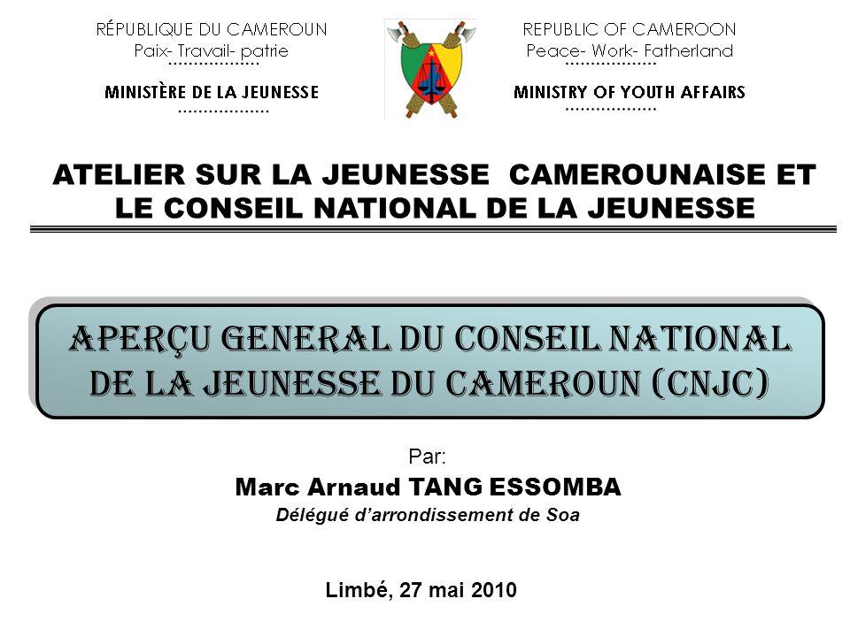 APERÇU GENERAL DU CONSEIL NATIONAL DE LA JEUNESSE DU CAMEROUN (CNJC) APERÇU GENERAL DU CONSEIL NATIONAL DE LA JEUNESSE DU CAMEROUN (CNJC) Par: Marc Ar