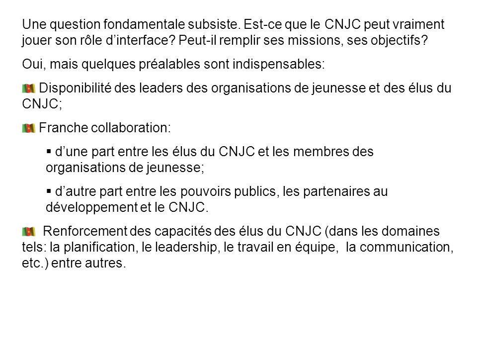 Une question fondamentale subsiste. Est-ce que le CNJC peut vraiment jouer son rôle dinterface? Peut-il remplir ses missions, ses objectifs? Oui, mais
