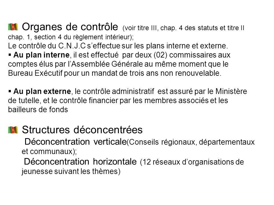 Organes de contrôle (voir titre III, chap. 4 des statuts et titre II chap. 1, section 4 du règlement intérieur); Le contrôle du C.N.J.C seffectue sur