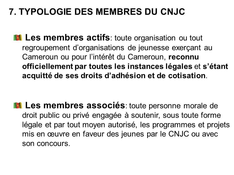 Les membres actifs : toute organisation ou tout regroupement dorganisations de jeunesse exerçant au Cameroun ou pour lintérêt du Cameroun, reconnu off