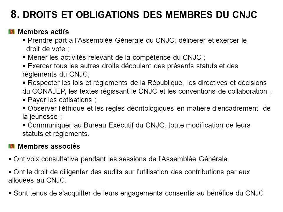 8. DROITS ET OBLIGATIONS DES MEMBRES DU CNJC Membres actifs Prendre part à lAssemblée Générale du CNJC; délibérer et exercer le droit de vote ; Mener
