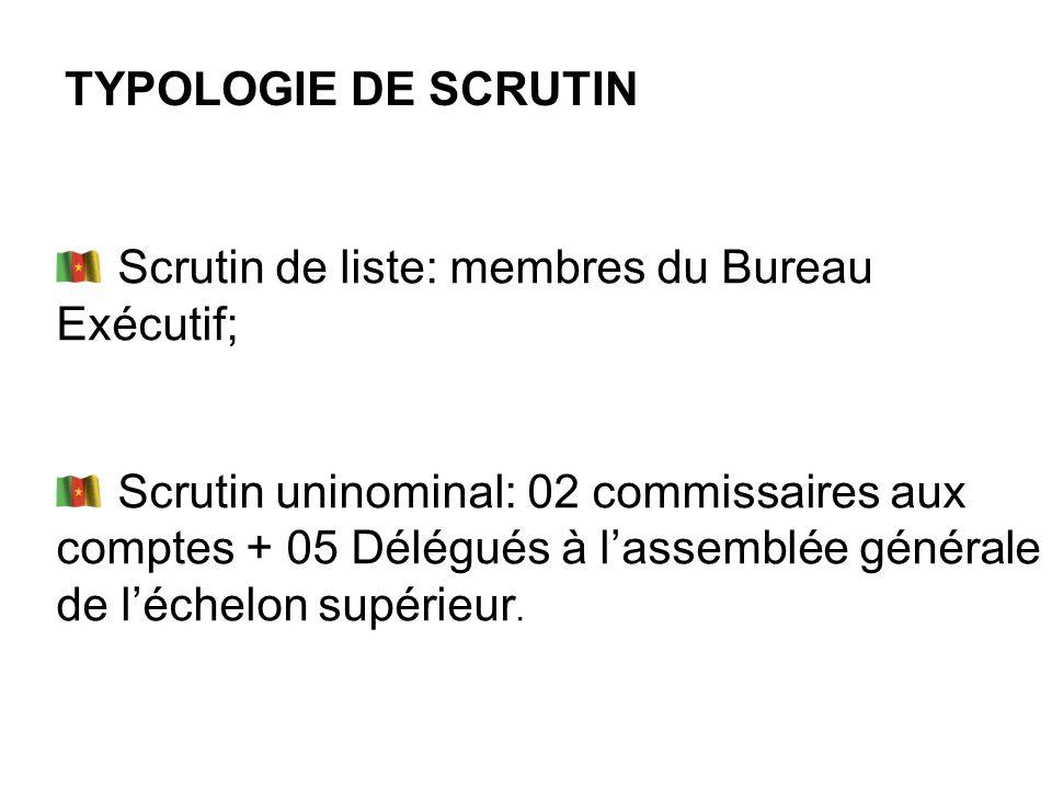 TYPOLOGIE DE SCRUTIN Scrutin de liste: membres du Bureau Exécutif; Scrutin uninominal: 02 commissaires aux comptes + 05 Délégués à lassemblée générale