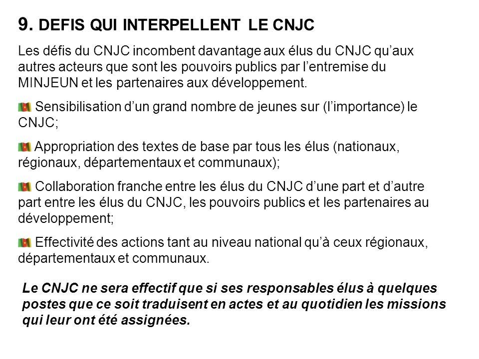 Les défis du CNJC incombent davantage aux élus du CNJC quaux autres acteurs que sont les pouvoirs publics par lentremise du MINJEUN et les partenaires