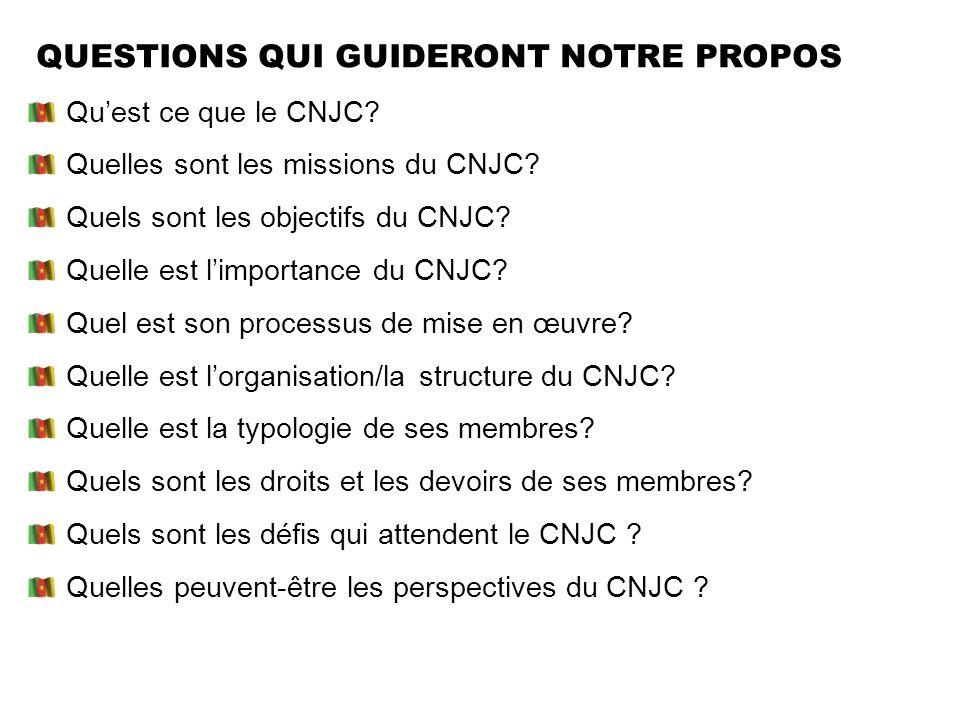 QUESTIONS QUI GUIDERONT NOTRE PROPOS Quest ce que le CNJC? Quelles sont les missions du CNJC? Quels sont les objectifs du CNJC? Quelle est limportance