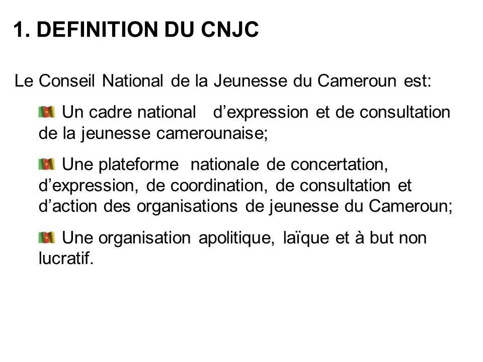 1. DEFINITION DU CNJC Le Conseil National de la Jeunesse du Cameroun est: Un cadre national dexpression et de consultation de la jeunesse camerounaise