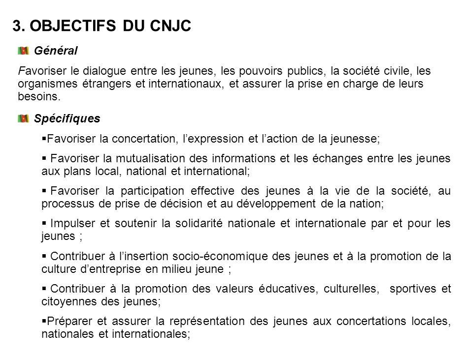 Général Favoriser le dialogue entre les jeunes, les pouvoirs publics, la société civile, les organismes étrangers et internationaux, et assurer la pri