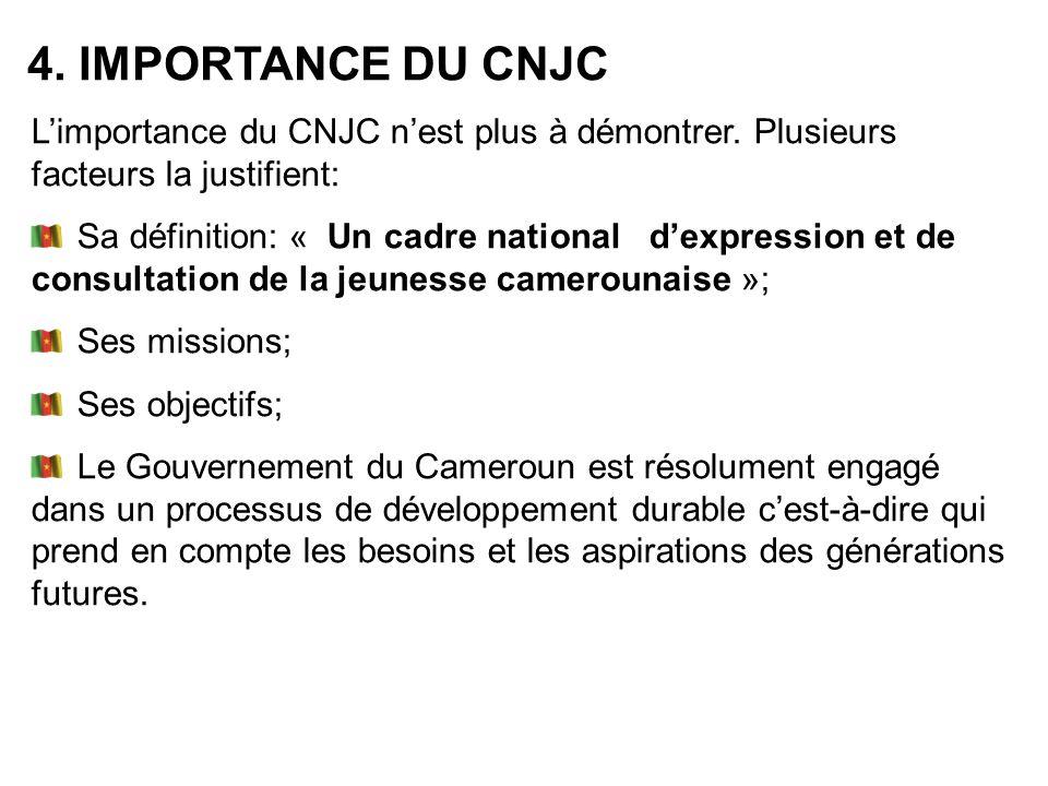 Limportance du CNJC nest plus à démontrer. Plusieurs facteurs la justifient: Sa définition: « Un cadre national dexpression et de consultation de la j