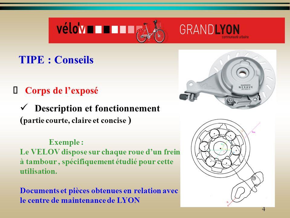 3 TIPE : Conseils pour le contenu Présentation Problème technique (et fil directeur) Exemple: Pour assurer la sécurité du cycliste et des usagers, la