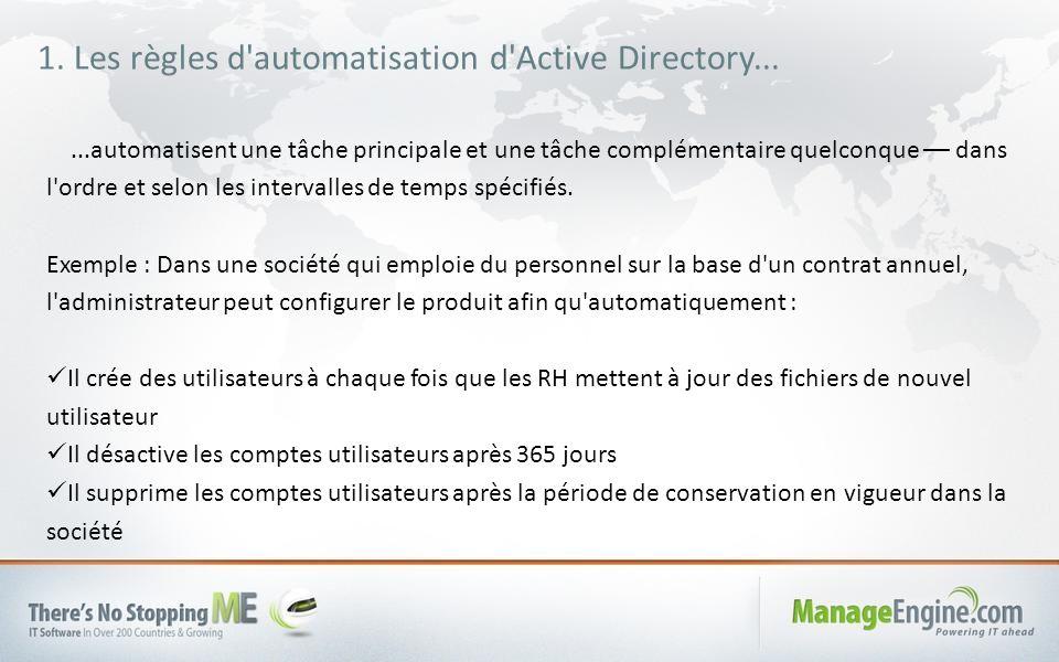 Tâche principale de création automatique des utilisateurs Modèle de provisionnement d utilisateur à appliquer La tâche complémentaire de désactivation d un compte au bout de deux ans est automatisée Une autre tâche complémentaire automatisée.