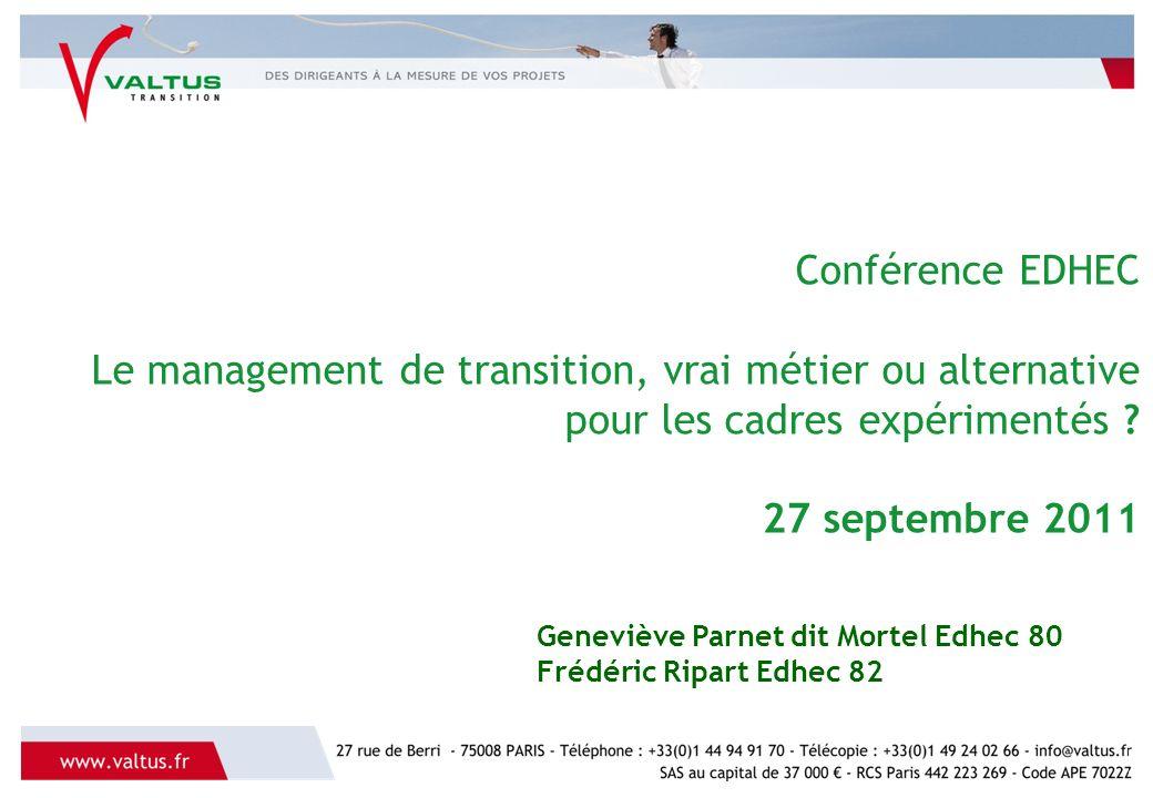 Conférence EDHEC Le management de transition, vrai métier ou alternative pour les cadres expérimentés .
