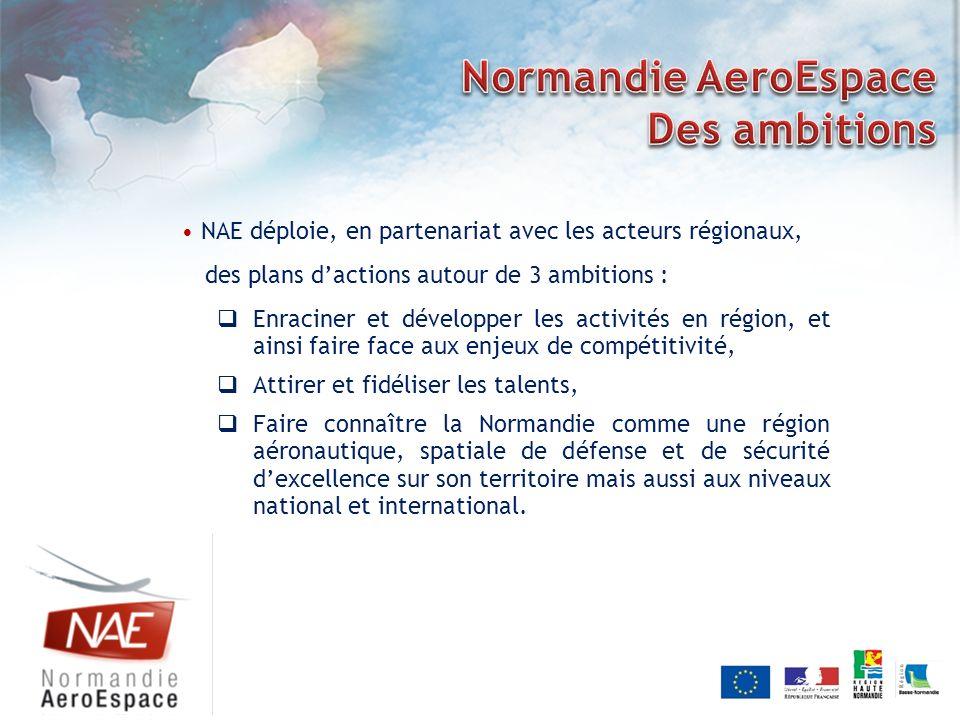 NAE déploie, en partenariat avec les acteurs régionaux, des plans dactions autour de 3 ambitions : Enraciner et développer les activités en région, et