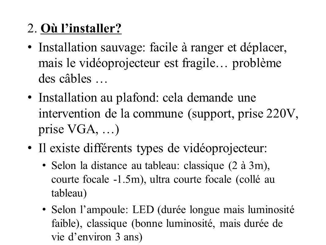2. Où linstaller? Installation sauvage: facile à ranger et déplacer, mais le vidéoprojecteur est fragile… problème des câbles … Installation au plafon