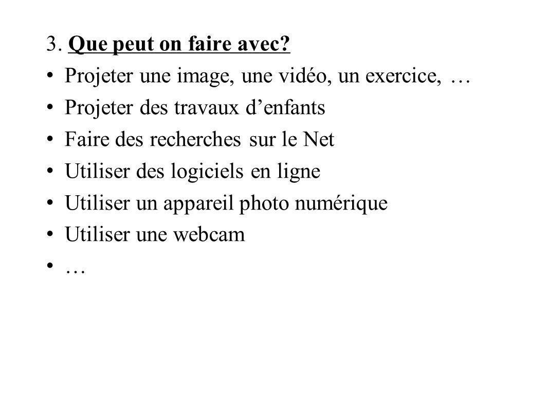 3. Que peut on faire avec? Projeter une image, une vidéo, un exercice, … Projeter des travaux denfants Faire des recherches sur le Net Utiliser des lo