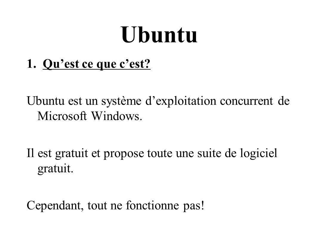 Ubuntu 1.Quest ce que cest? Ubuntu est un système dexploitation concurrent de Microsoft Windows. Il est gratuit et propose toute une suite de logiciel