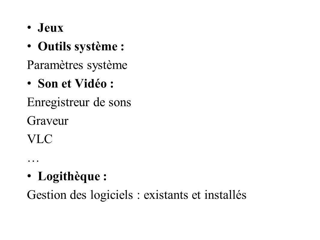 Jeux Outils système : Paramètres système Son et Vidéo : Enregistreur de sons Graveur VLC … Logithèque : Gestion des logiciels : existants et installés