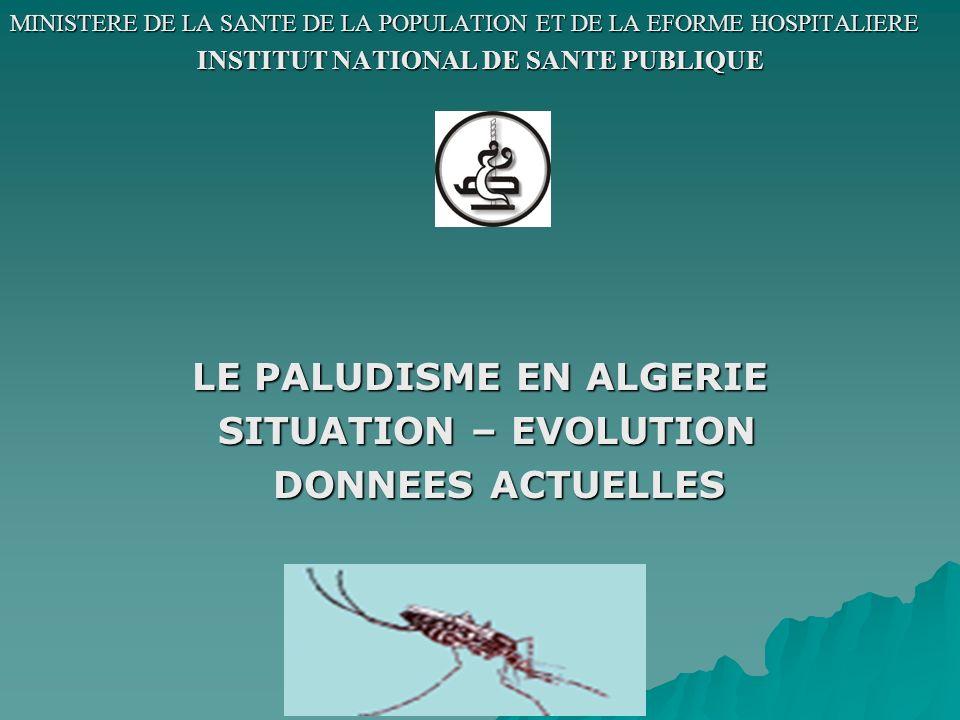 Remarque: Le sud du pays nétait pas concerné par le programme déradication du paludisme et est resté sous lutte classique.