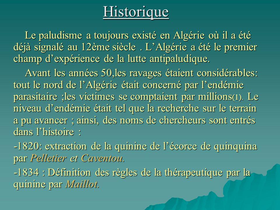 Distribution des cas de paludisme autochtone(1990-2005)* ANNEENB DE CAS LOCALITEESPECE 1990-1998204Ain Defla(31) Iherir(173) Pv 1999-200570Tamanrasset(06) Adrar(21) Ouargla(40) Ghardaia(03) Pf(05),Pv(01) Pf(18),Pv(03) Pv(40) Pf(03) TOTAL274 * Cas confirmés par le laboratoire de référence de lINSP au 31 décembre 2005 Pv : plasmodium vivax Pf : Plasmodium falciparum